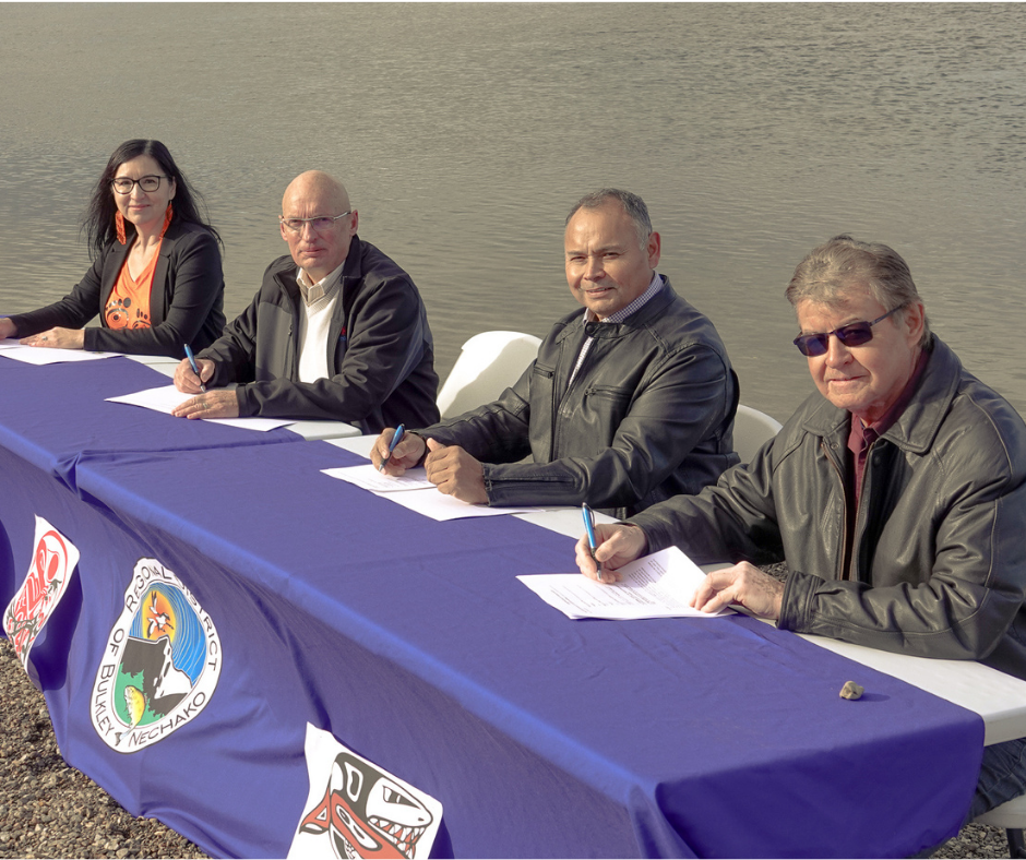 Chief Priscilla Mueller, Mayor Gerry Thiessen, Chief Robert Michell, and Chief Larry Nooski signed an MOU to collaborate on restoring the health of the Nechako River on Sept. 29.
